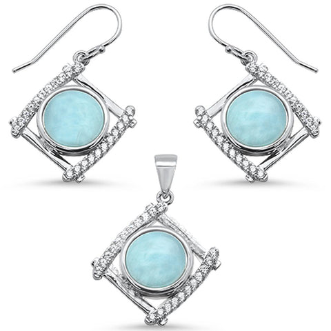 Natural Larimar & Cubic Zirconia .925 Sterling Silver Pendant & Earring Set