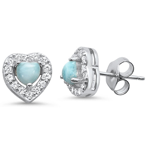Natural Larimar Heart .925 Sterling Silver Earrings
