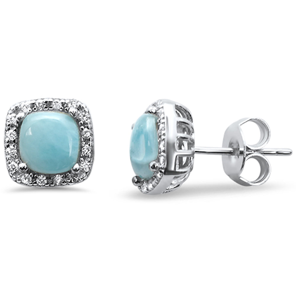 Natural Larimar Cushion Shape .925 Sterling Silver Earrings