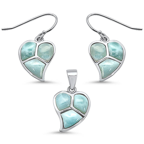 Natural Larimar Leaf .925 Sterling Silver Pendant & Earring Set