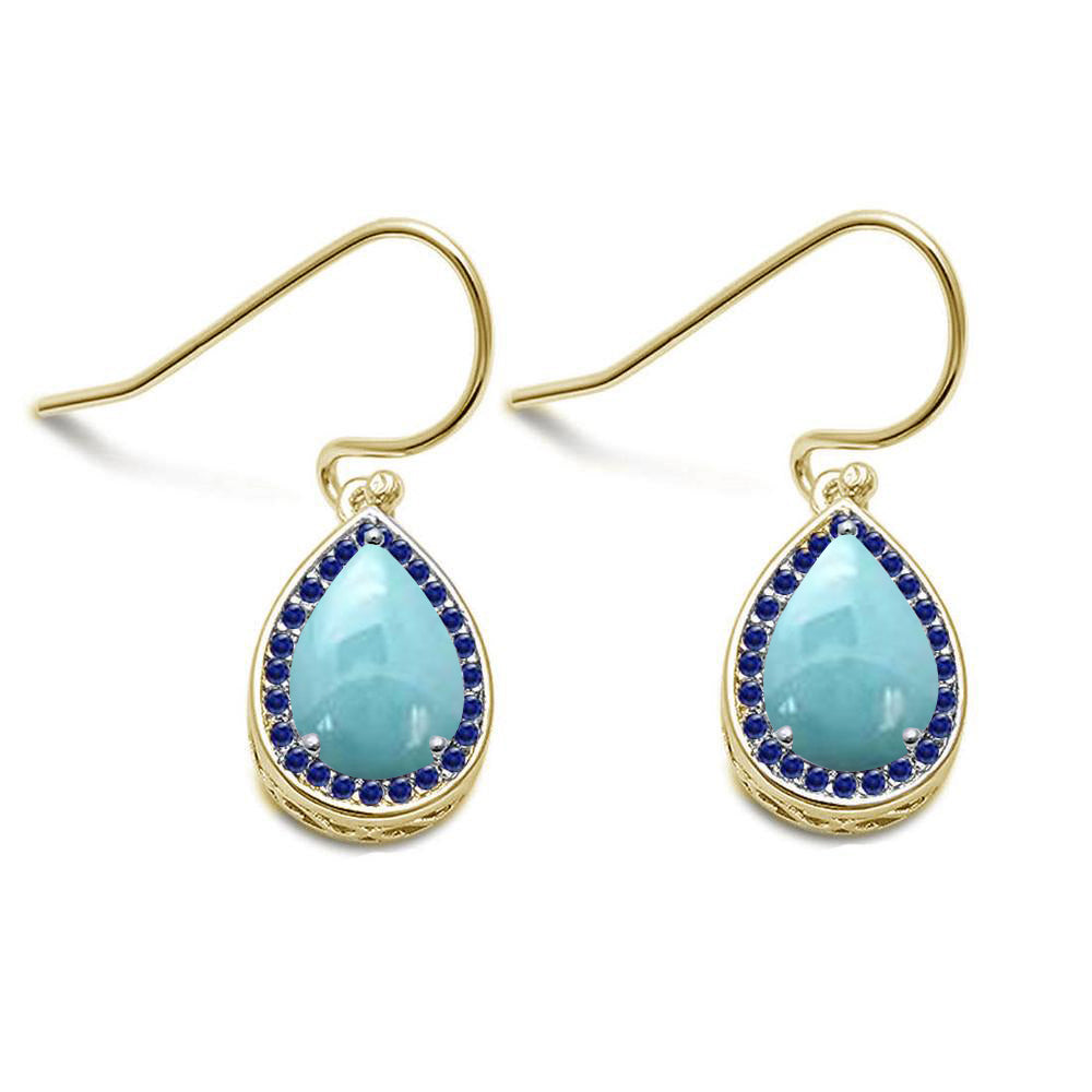 Natural Larimar & Blue Sapphire Pear Drop Dangle .925 Sterling Silver Earrings
