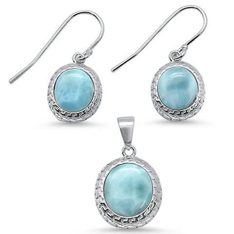 Oval Natural Larimar .925 Sterling Silver Pendant & Earring Set