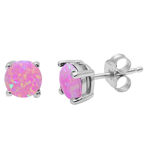 Round Pink Opal .925 Sterling Silver Earrings