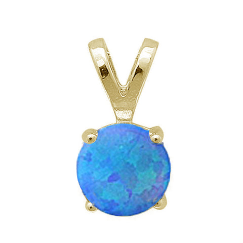 Yellow Gold Plated Round Blue Opal .925 Sterling Silver Pendant