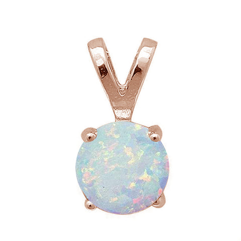 Rose Gold Plated Round White Opal .925 Sterling Silver Pendant