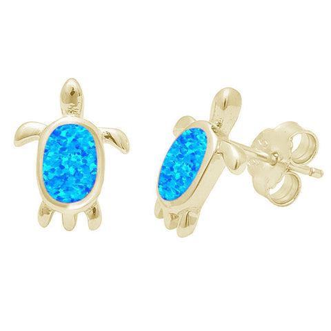 Yellow Gold Plated Blue Opal Turtle .925 Sterling Silver Earrings