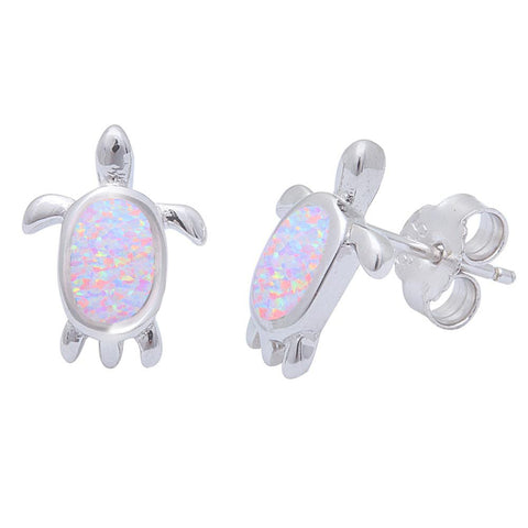 Pink Opal Turtle  .925 Sterling Silver Earrings