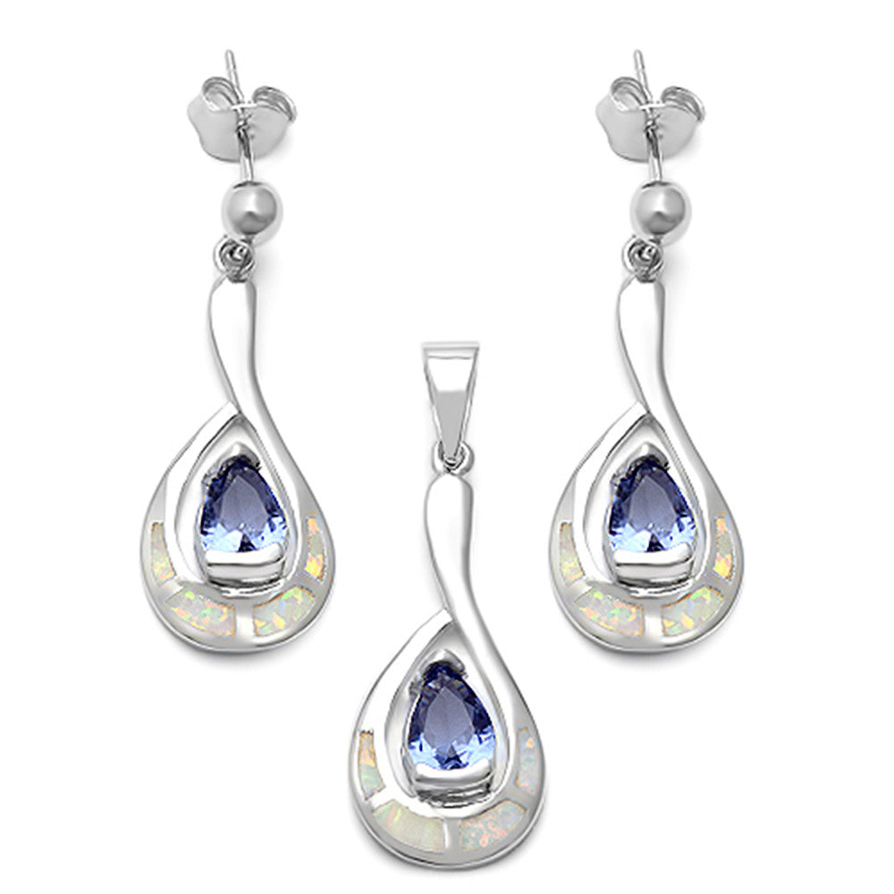 Tanzanite Cz & Lab created White Opal .925 Sterling Silver Jewelry Set