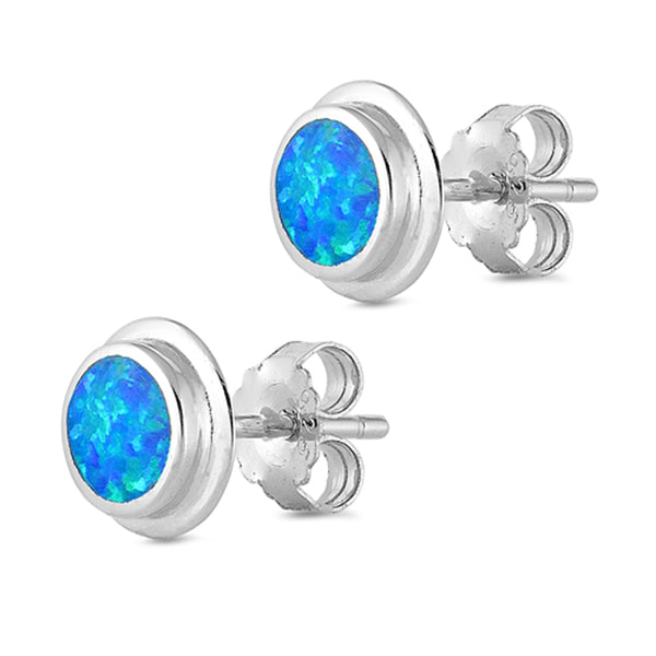 Blue Fire Opal Stud .925 Sterling Silver Earrings