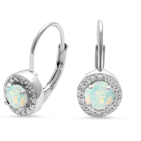 Halo White Opal .925 Sterling Silver Earrings
