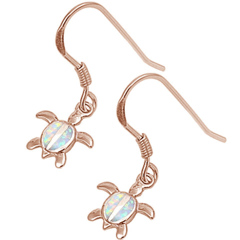Rose Gold Plated White Opal Turtle .925 Sterling Silver Earrings