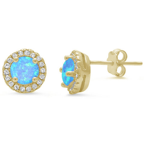 Yellow Gold Plated Halo Blue Opal .925 Sterling Silver Earrings