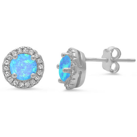 Halo Blue Opal .925 Sterling Silver Earrings