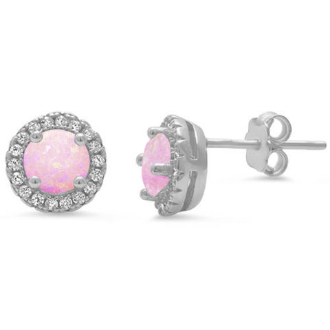 Halo Pink Opal .925 Sterling Silver Earrings