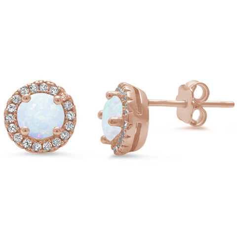 Rose Gold Plated Halo White Opal .925 Sterling Silver Earrings