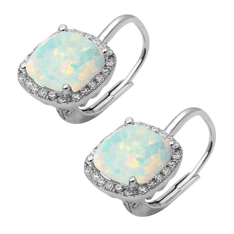 Cushion Cut White Opal & Cubic Zirconia .925 Sterling Silver Earrings