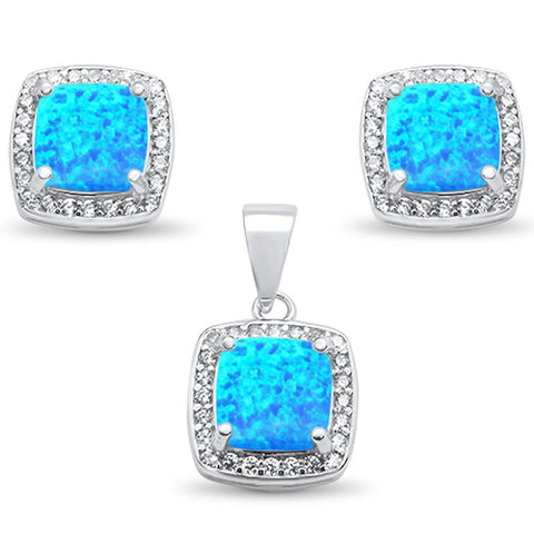 Cushion Cut Blue Opal & Cz Earring & Pendant .925 Sterling Silver Set