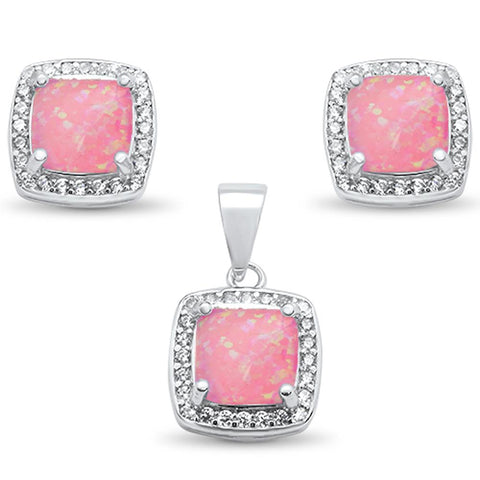 Cushion Cut Pink Opal & Cz Earring & Pendant .925 Sterling Silver Set