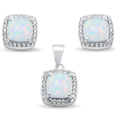 Cushion Cut White Opal & Cz Earring & Pendant .925 Sterling Silver Set