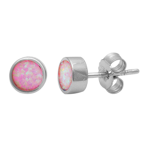 Bezel Pink Opal Studs .925 Sterling Silver Earrings