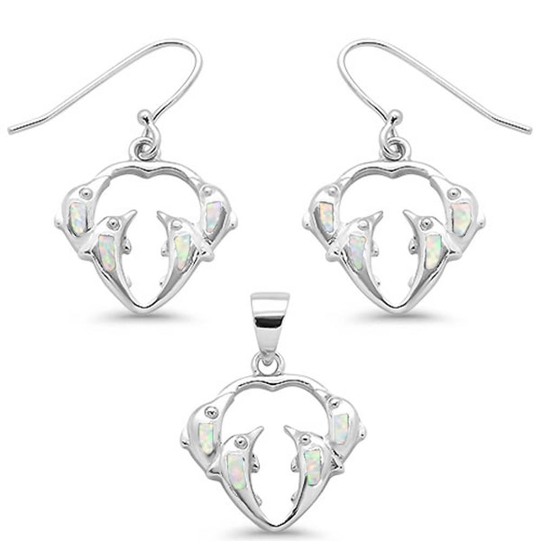 White Opal Dolphines Dangling Earring & Pendant .925 Sterling Silver Set