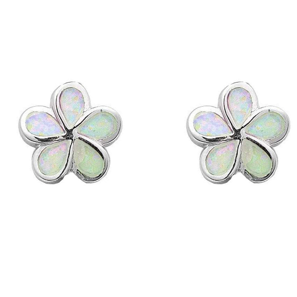 White Opal Flower Earrings .925 Sterling Silver