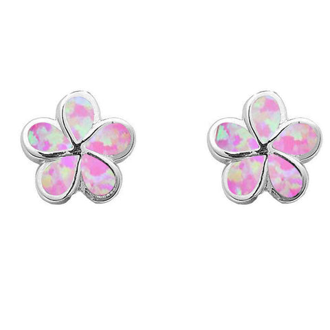 Pink Opal Flower  .925 Sterling Silver Earrings