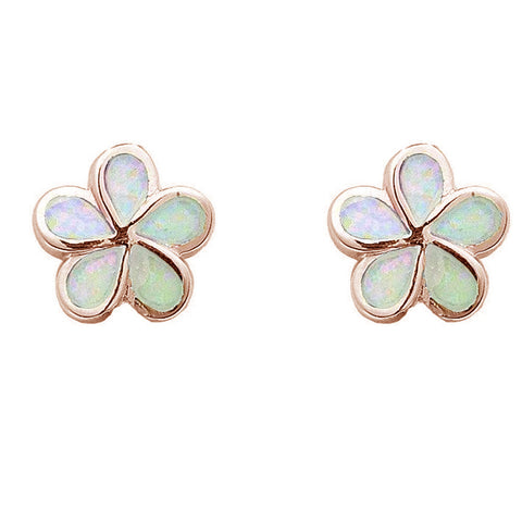 Rose Gold Plated White Opal Flower .925 Sterling Silver Earrings