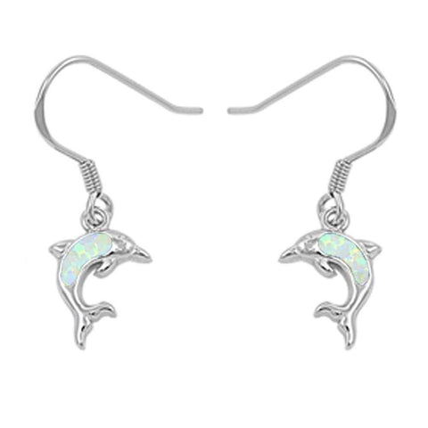 White Opal Dolphine Dangle .925 Sterling Silver Earrings