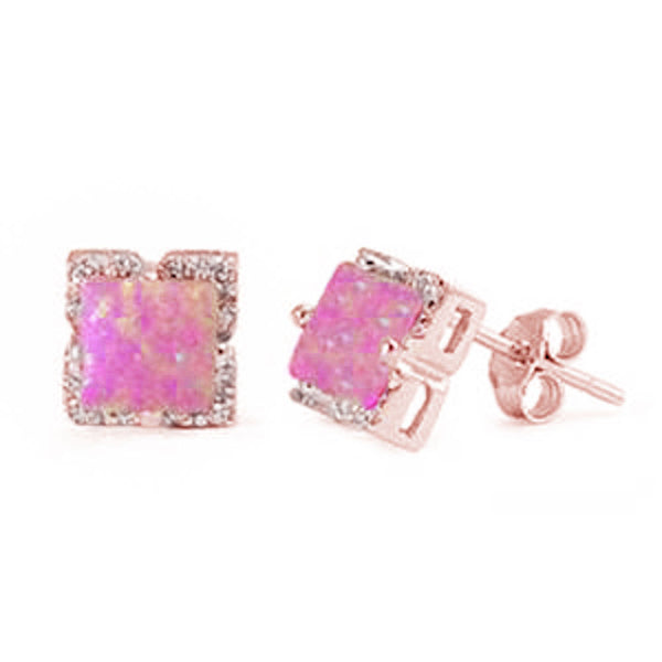 Rose Gold Plated Square Cut Pink Opal .925 Sterling Silver Earring