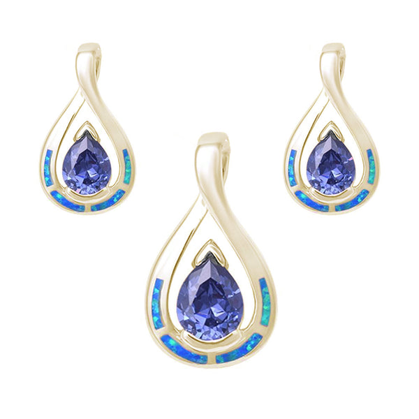 Yellow Gold Plated Pear Shape Tanzanite & Blue Opal Earring & Pendant .925 Sterling Silver Set