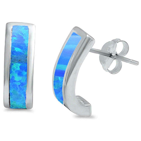 Blue Opal Half Hoop .925 Sterling Silver Earrings