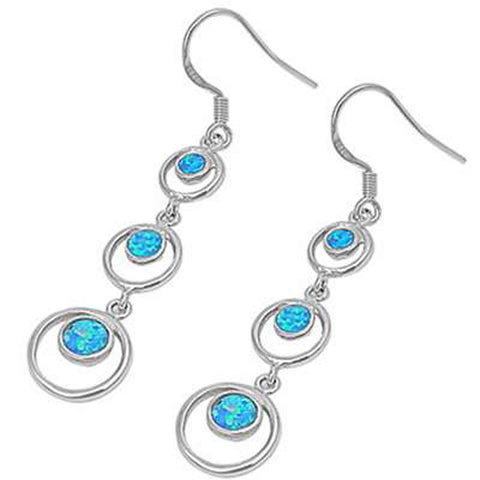 Blue Opal Circles .925 Sterling Silver Earrings