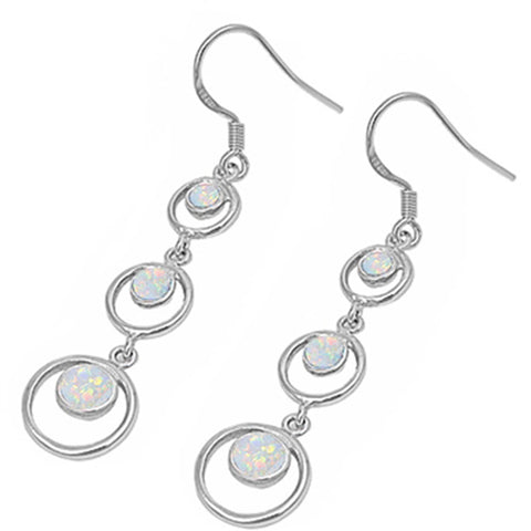 White Opal Circles .925 Sterling Silver Earrings