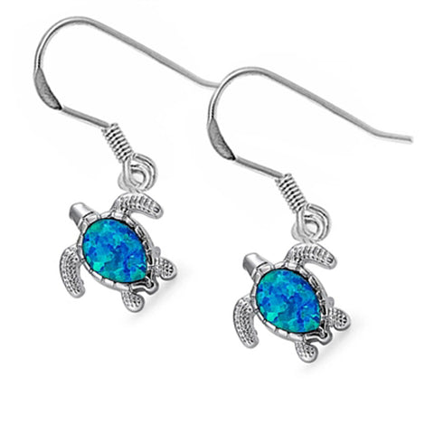 Blue Opal Turtle .925 Sterling Silver Earrings