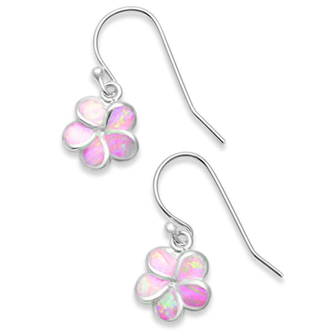 Lab Created Pink Opal Plumeria .925 Sterling Silver Earrings