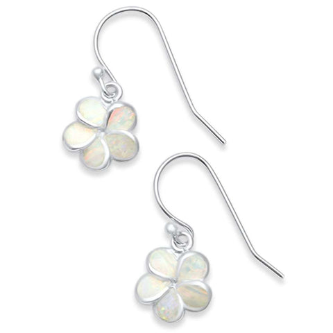Lab Created White Opal Plumeria .925 Sterling Silver Earrings