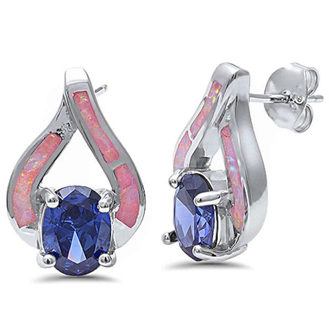 New Fashion Pink Opal & Tanzanite .925 Sterling Silver Earrings