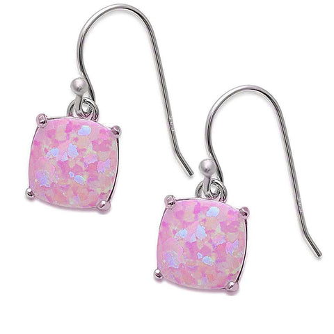 Cushion Shape Pink Opal Dangle Style .925 Sterling Silver Earrings