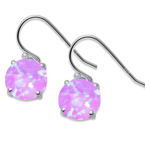 Round Pink Fire Opal.925 Sterling Silver Earring