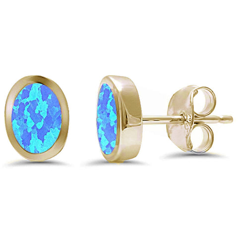 Yellow Gold Plated Oval Shape Bezel Blue Opal .925 Sterling Silver Earrings
