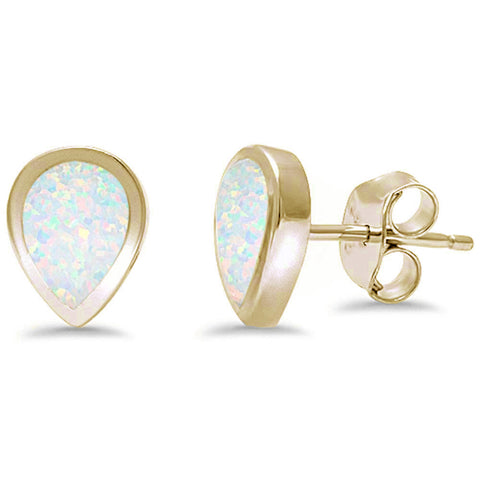 Yellow Gold Plated Tear Shape White Opal .925 Sterling Silver Earrings