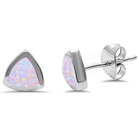Pink Opal Heart Stud .925 Sterling Silver Earrings
