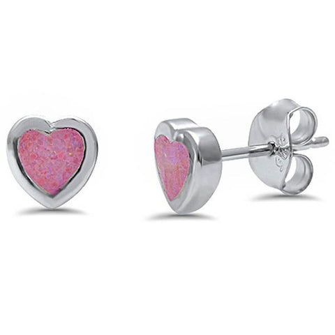 Lab Created Pink Opal Heart Shape Stud .925 Sterling Silver Earrings
