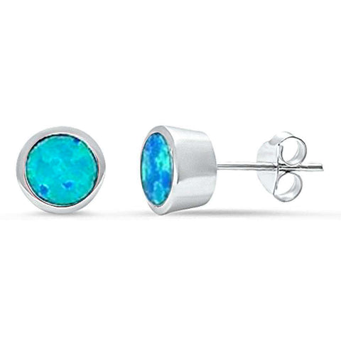 Blue Opal Bezel Stud .925 Sterling Silver Earrings