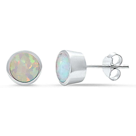 White Opal Bezel Stud .925 Sterling Silver Earrings