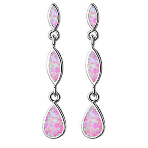 Dangle Marquis & Pear Shape Pink Opal .925 Sterling Silver Earrings