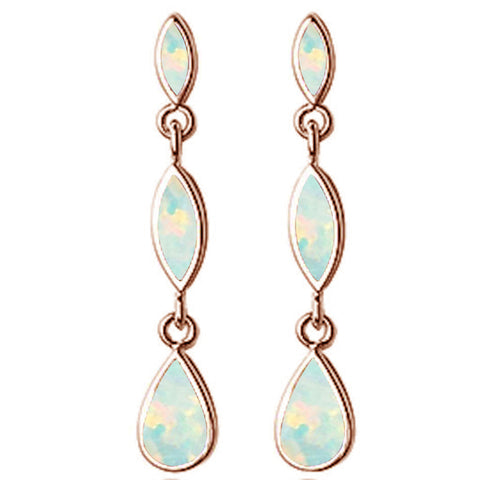 Rose Gold Plated Dangle Marquis & Pear White Opal .925 Sterling Silver Earrings