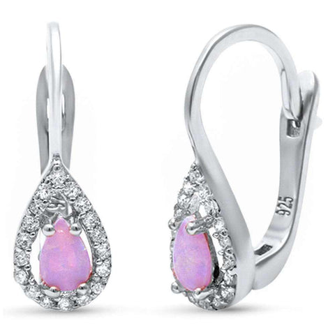 Pink Opal &  Cubic Zirconia .925 Sterling Silver Earrings