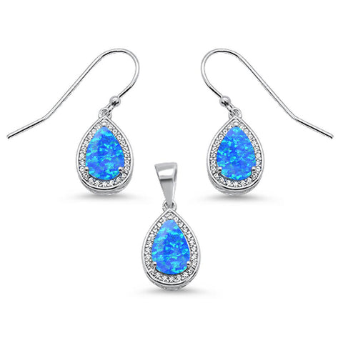 Pear Shape Blue Opal & Cubic Zirconia .925 Sterling Silver Earring & Pendant Set